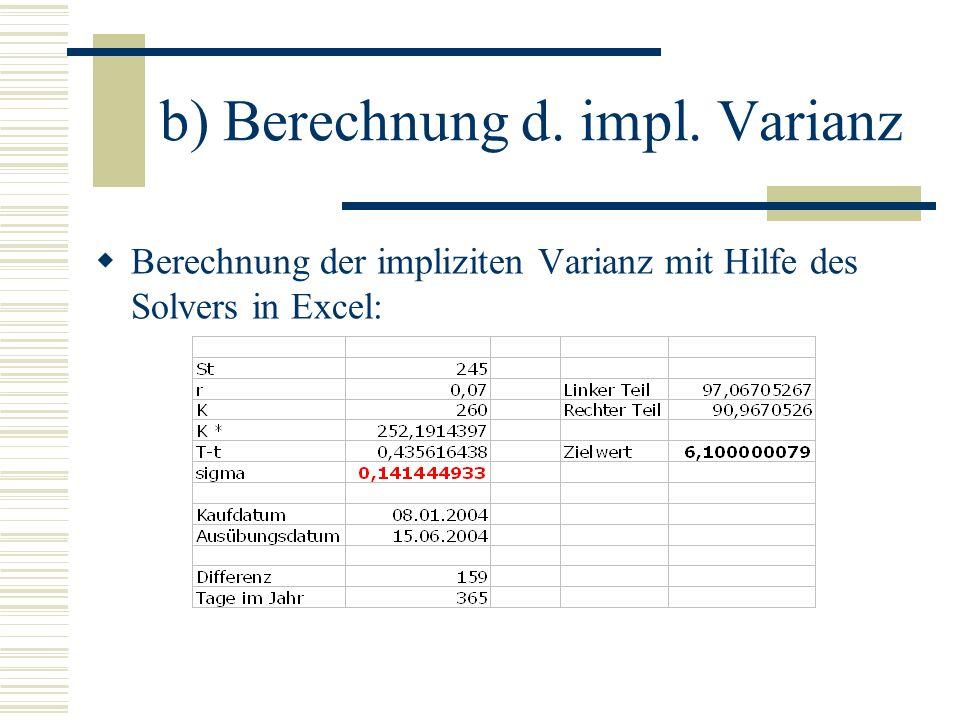 b) Berechnung d. impl. Varianz