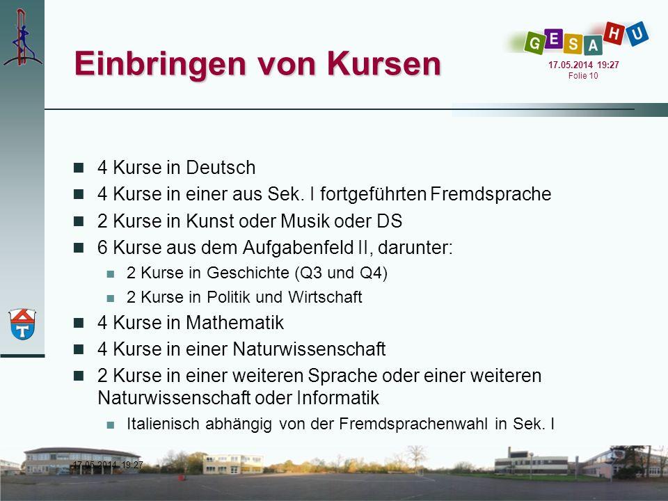 Einbringen von Kursen 4 Kurse in Deutsch