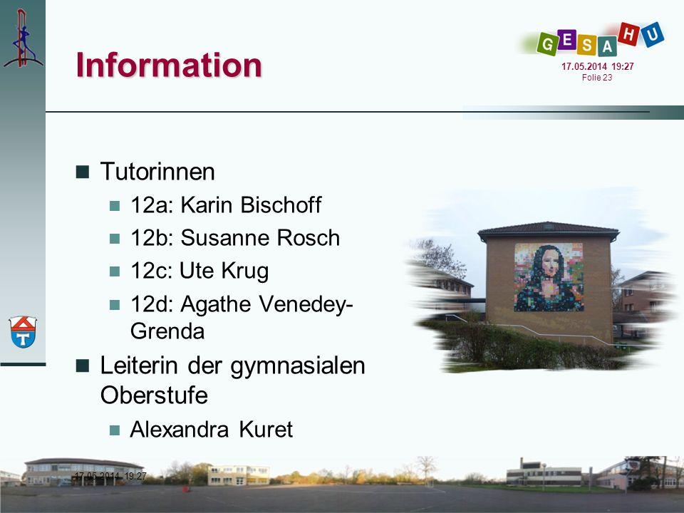 Information Tutorinnen Leiterin der gymnasialen Oberstufe