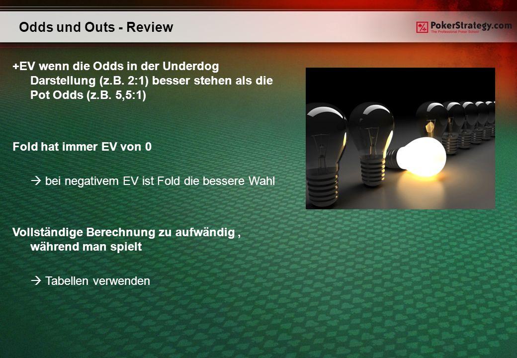 Odds und Outs - Review +EV wenn die Odds in der Underdog Darstellung (z.B. 2:1) besser stehen als die Pot Odds (z.B. 5,5:1)