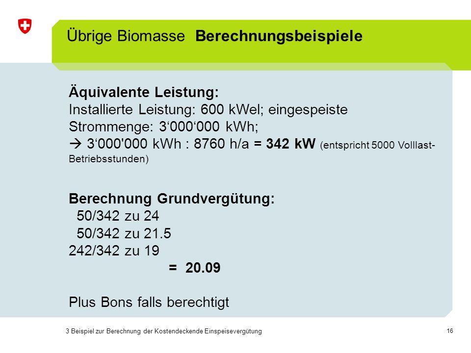 Übrige Biomasse Berechnungsbeispiele