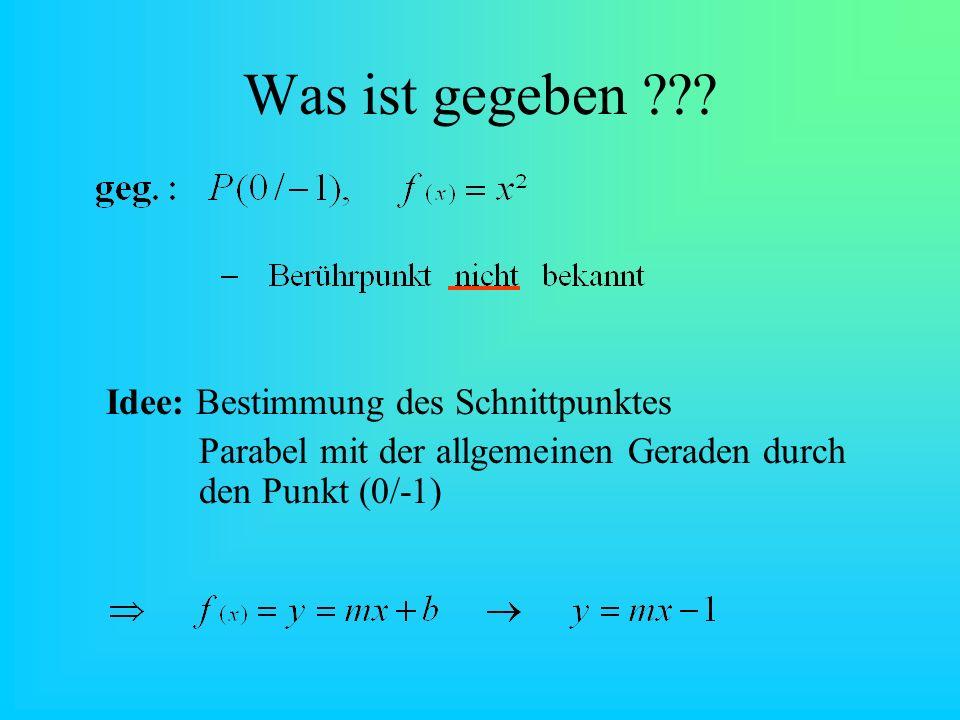 Was ist gegeben Idee: Bestimmung des Schnittpunktes. Parabel mit der allgemeinen Geraden durch den Punkt (0/-1)