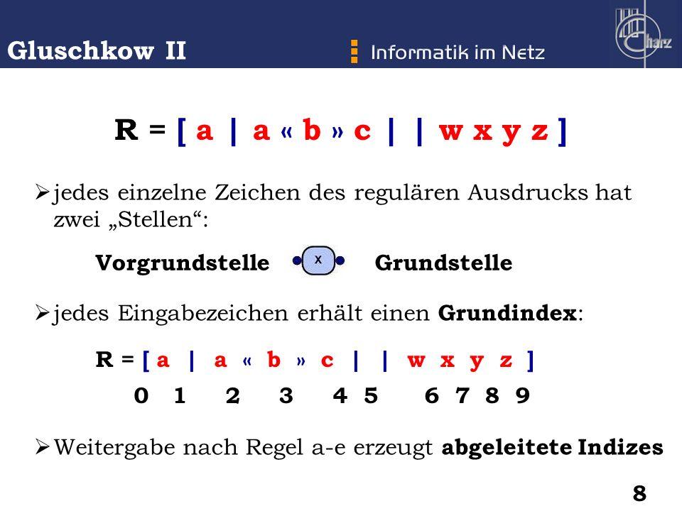 """jedes einzelne Zeichen des regulären Ausdrucks hat zwei """"Stellen :"""
