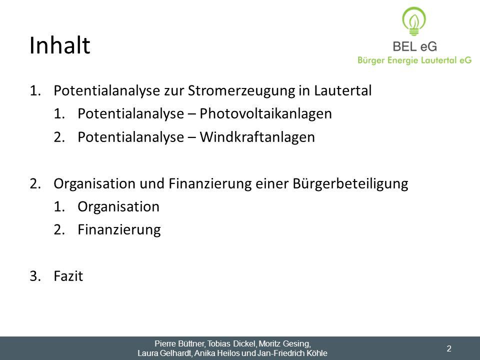 Inhalt Potentialanalyse zur Stromerzeugung in Lautertal