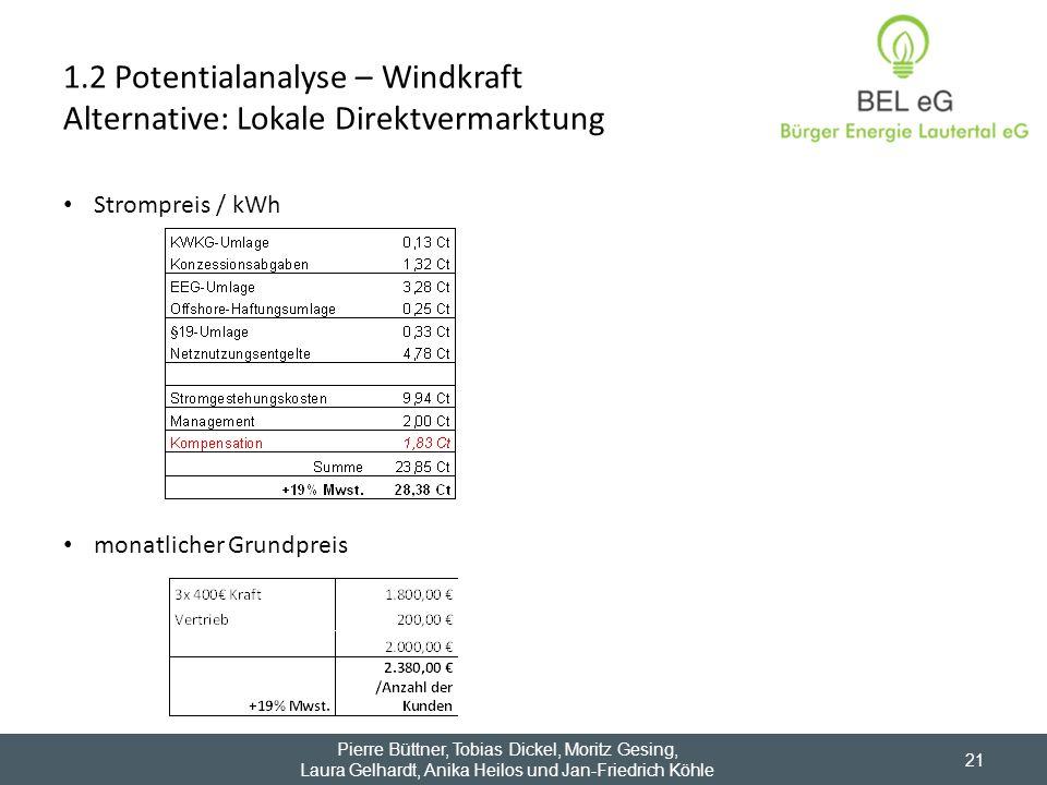 1.2 Potentialanalyse – Windkraft Alternative: Lokale Direktvermarktung