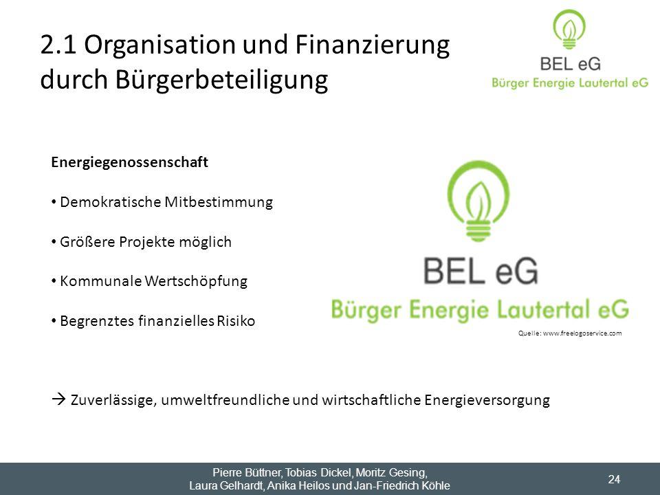 2.1 Organisation und Finanzierung durch Bürgerbeteiligung