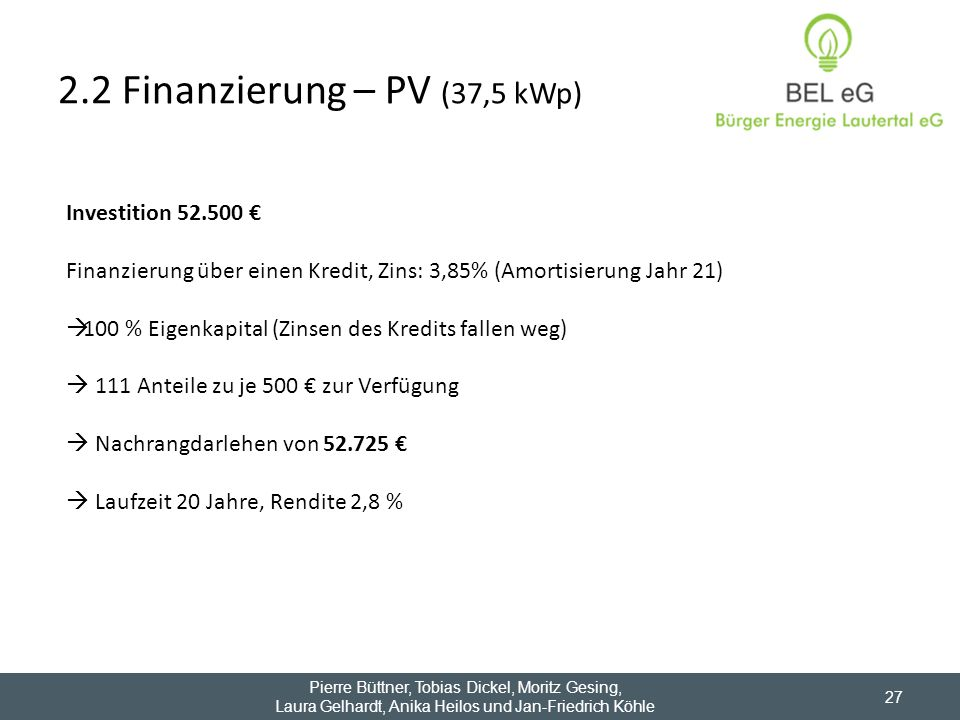 2.2 Finanzierung – PV (37,5 kWp)
