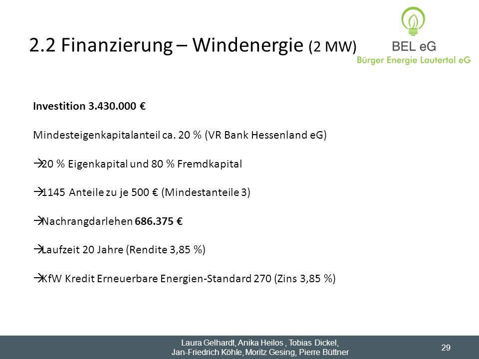 2.2 Finanzierung – Windenergie (2 MW)