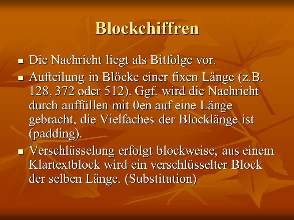 Blockchiffren Die Nachricht liegt als Bitfolge vor.
