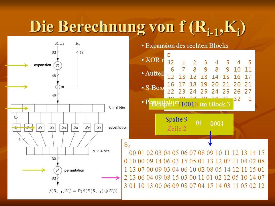 Die Berechnung von f (Ri-1,Ki)
