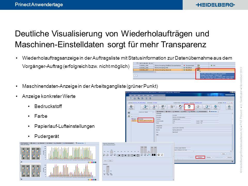 Deutliche Visualisierung von Wiederholaufträgen und Maschinen-Einstelldaten sorgt für mehr Transparenz
