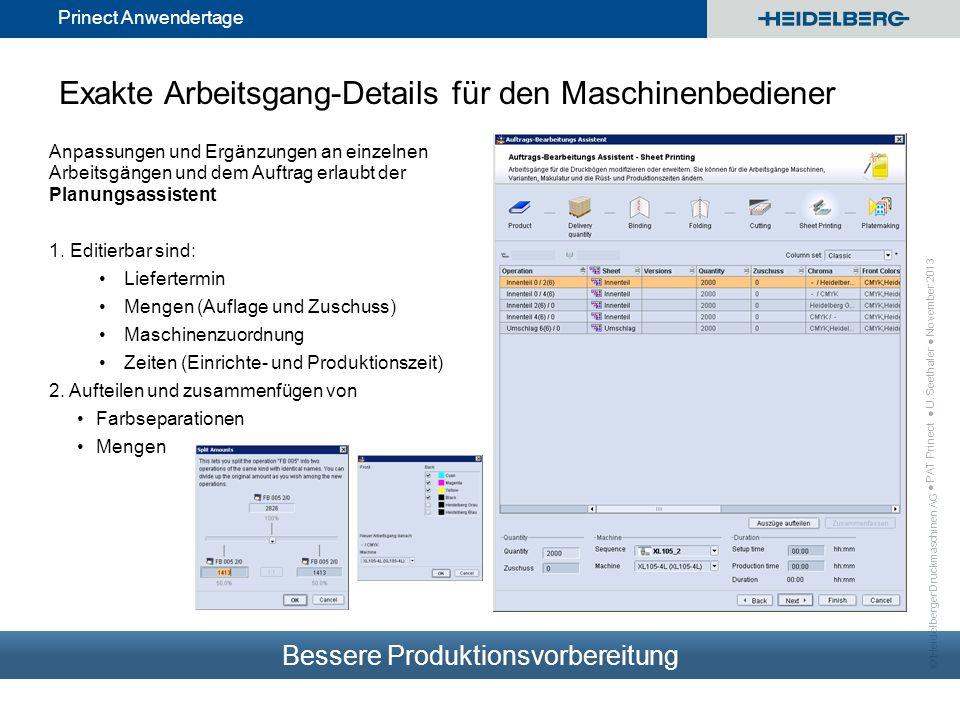 Exakte Arbeitsgang-Details für den Maschinenbediener