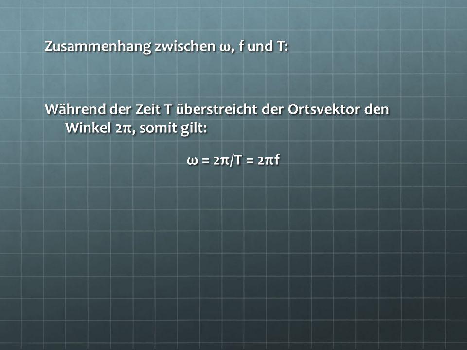 Zusammenhang zwischen ω, f und T: Während der Zeit T überstreicht der Ortsvektor den Winkel 2π, somit gilt: ω = 2π/T = 2πf