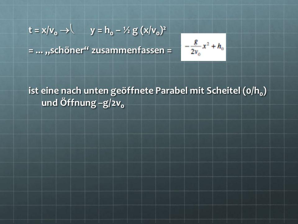 t = x/v0  y = h0 – ½ g (x/v0)2 = ...
