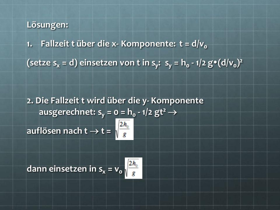 Lösungen: Fallzeit t über die x- Komponente: t = d/v0. (setze sx = d) einsetzen von t in sy: sy = h0 - 1/2 g(d/v0)2.