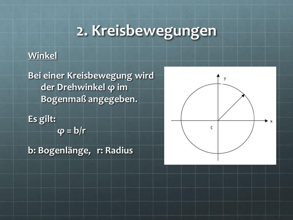 2. Kreisbewegungen Winkel Bei einer Kreisbewegung wird der Drehwinkel φ im Bogenmaß angegeben.