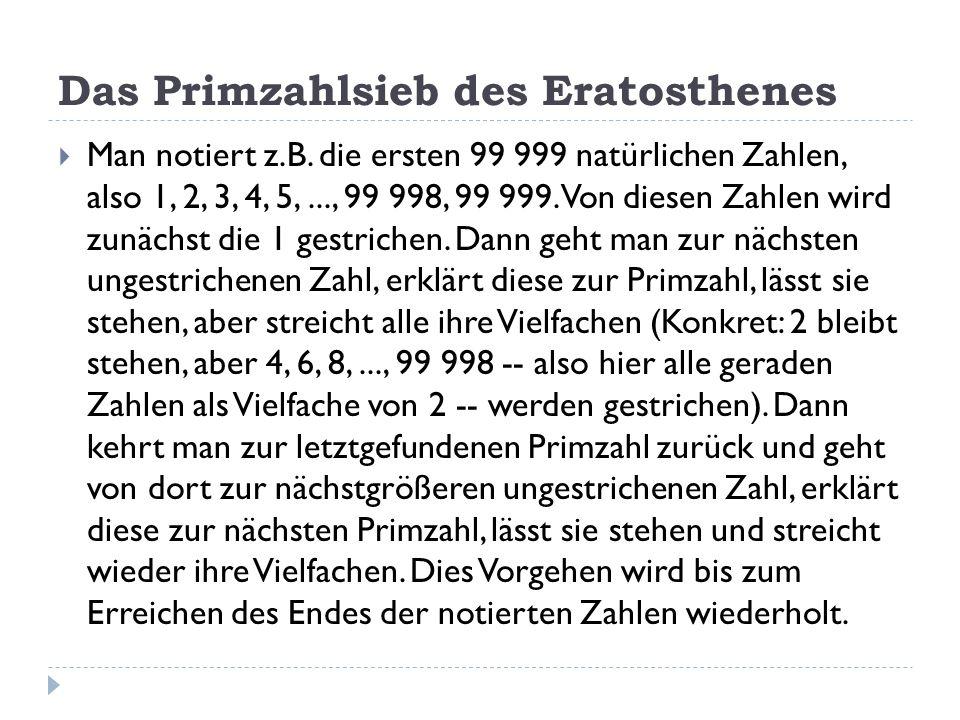 Das Primzahlsieb des Eratosthenes