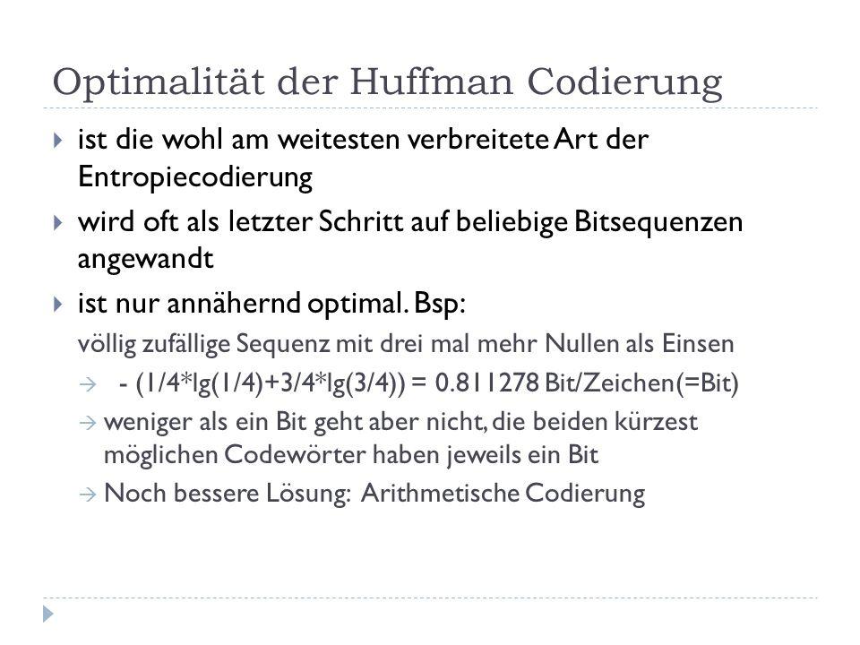 Optimalität der Huffman Codierung
