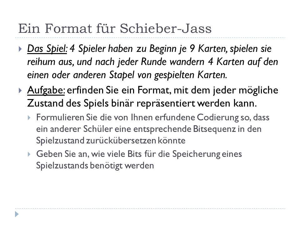 Ein Format für Schieber-Jass