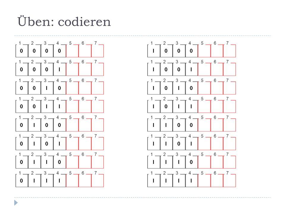 Üben: codieren 1. 2. 3. 4. 5. 6. 7. 1. 2. 3. 4. 5. 6. 7. 1. 2. 3. 4. 5. 6. 7. 1.