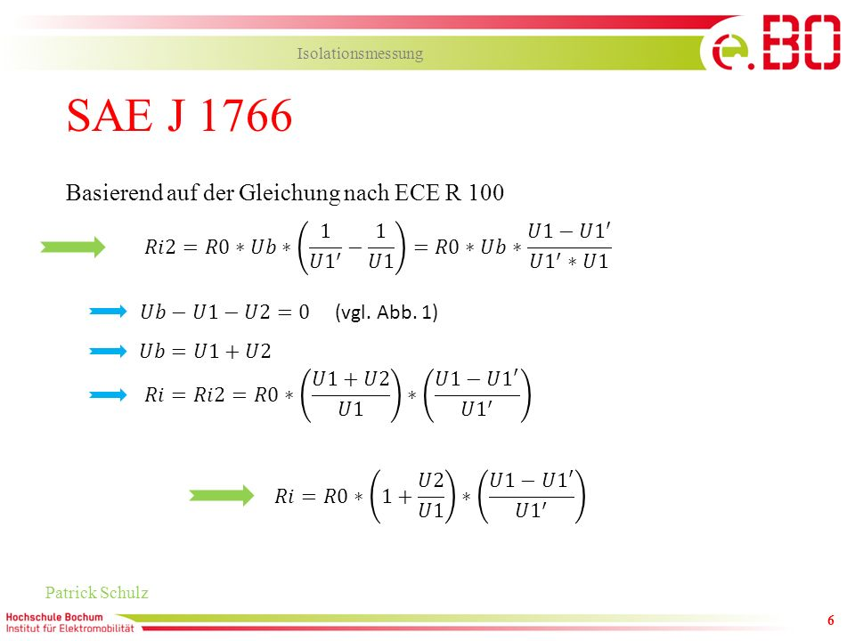 SAE J 1766 Basierend auf der Gleichung nach ECE R 100