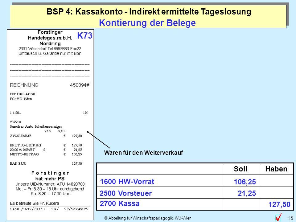 BSP 4: Kassakonto - Indirekt ermittelte Tageslosung