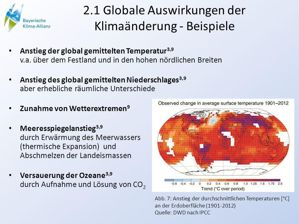 2.1 Globale Auswirkungen der Klimaänderung - Beispiele