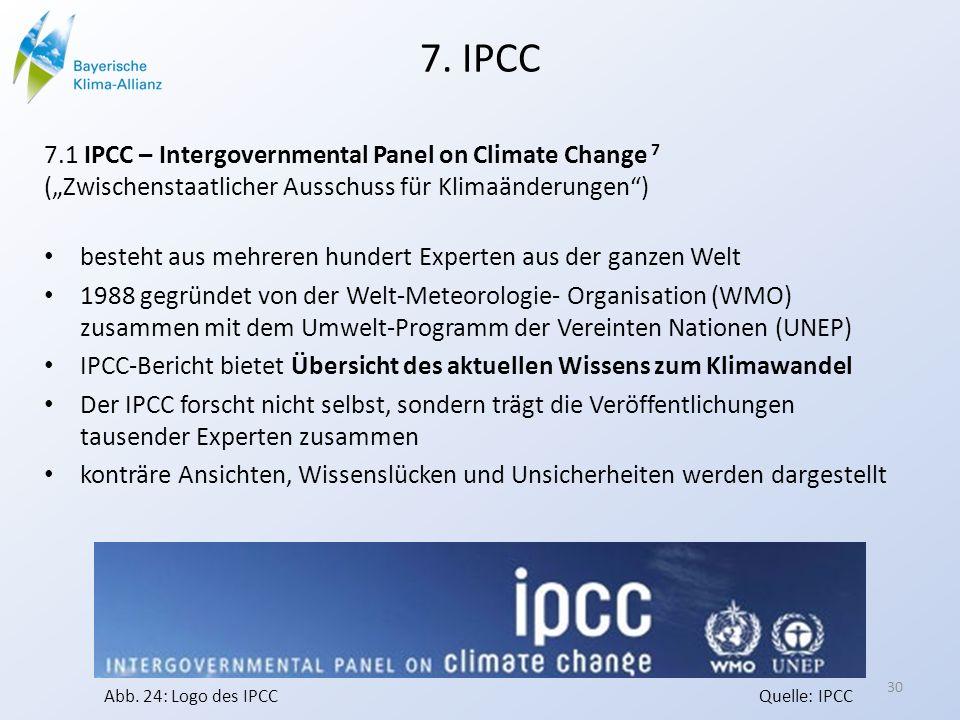 """7. IPCC 7.1 IPCC – Intergovernmental Panel on Climate Change 7 (""""Zwischenstaatlicher Ausschuss für Klimaänderungen )"""
