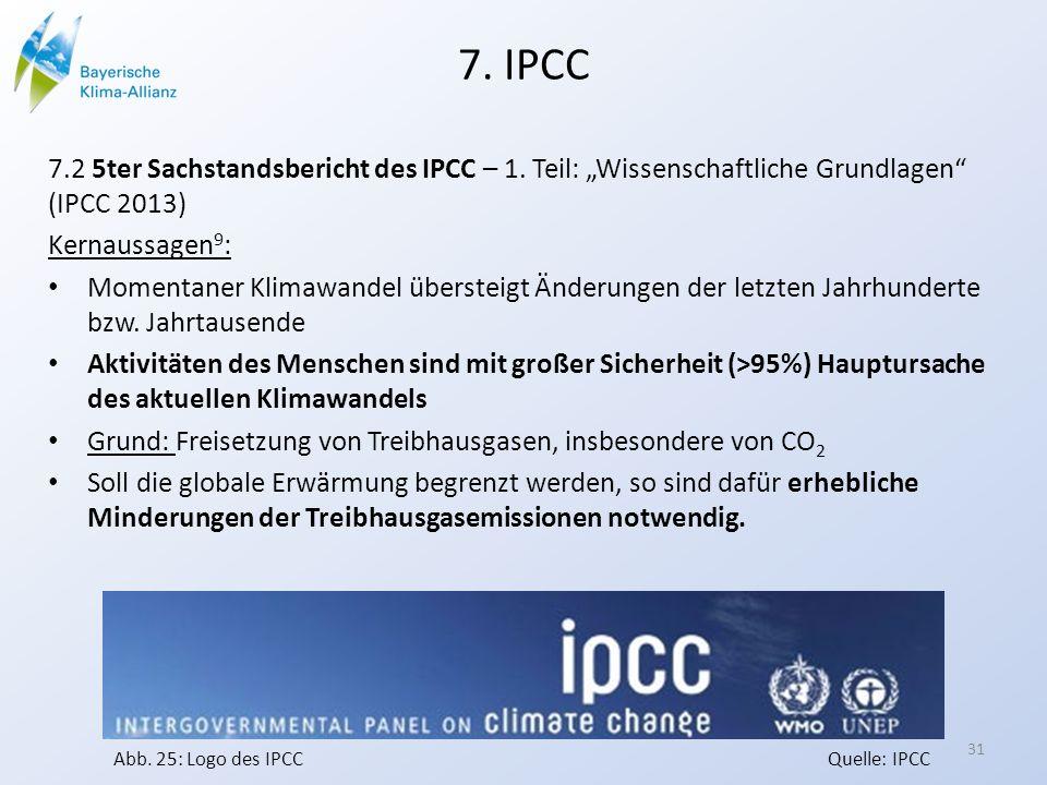 """7. IPCC 7.2 5ter Sachstandsbericht des IPCC – 1. Teil: """"Wissenschaftliche Grundlagen (IPCC 2013) Kernaussagen9:"""