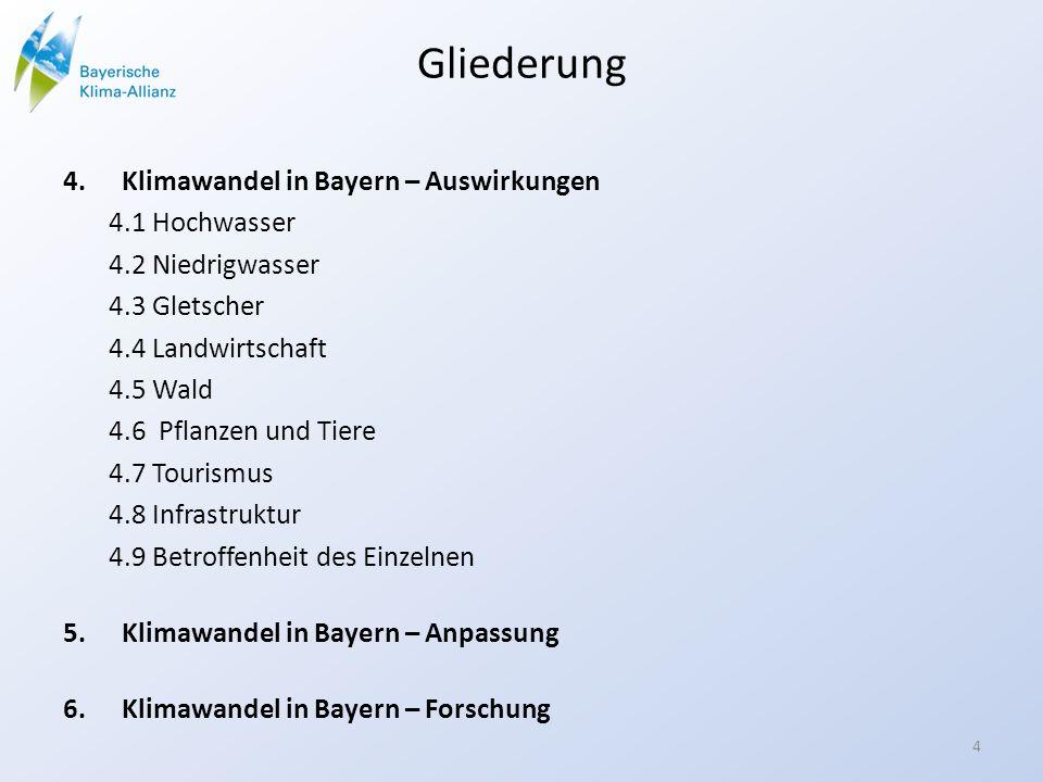 Gliederung Klimawandel in Bayern – Auswirkungen 4.1 Hochwasser