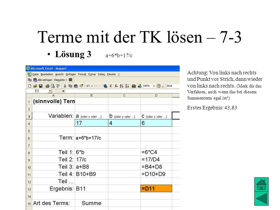 Terme mit der TK lösen – 7-3