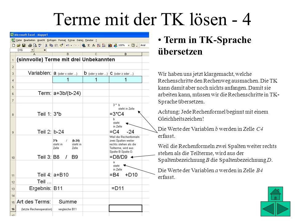 Terme mit der TK lösen - 4 Term in TK-Sprache übersetzen