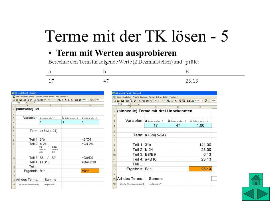 Terme mit der TK lösen - 5 Term mit Werten ausprobieren