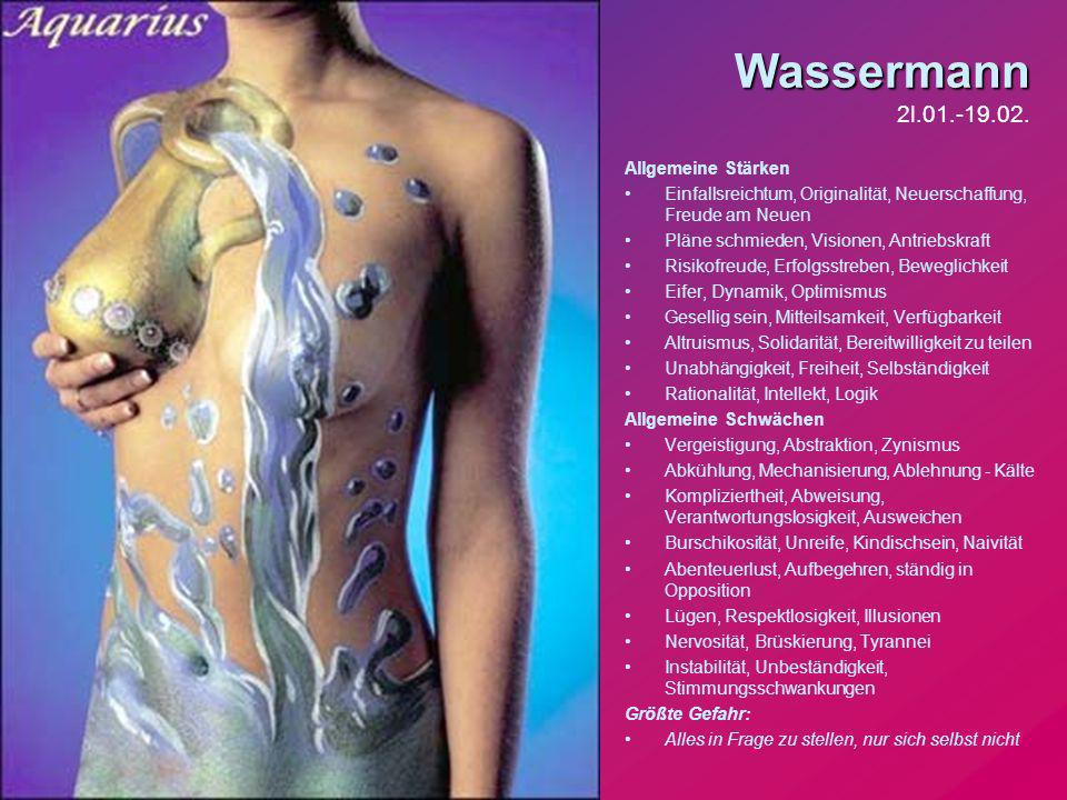 Wassermann 2l.01.-19.02. Allgemeine Stärken