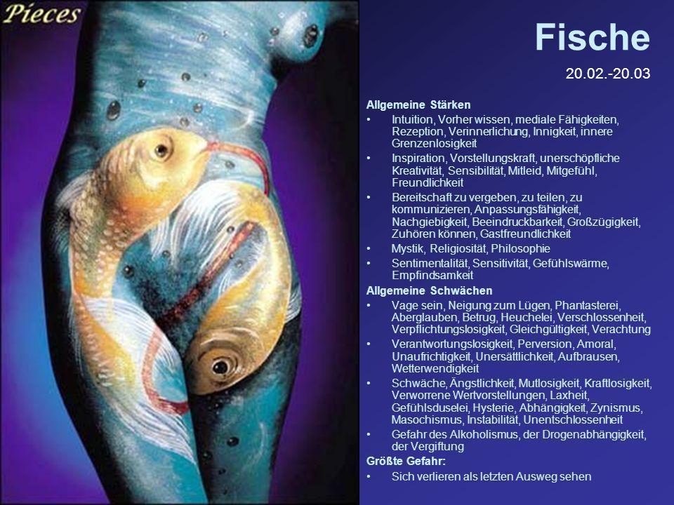 Fische 20.02.-20.03 Allgemeine Stärken