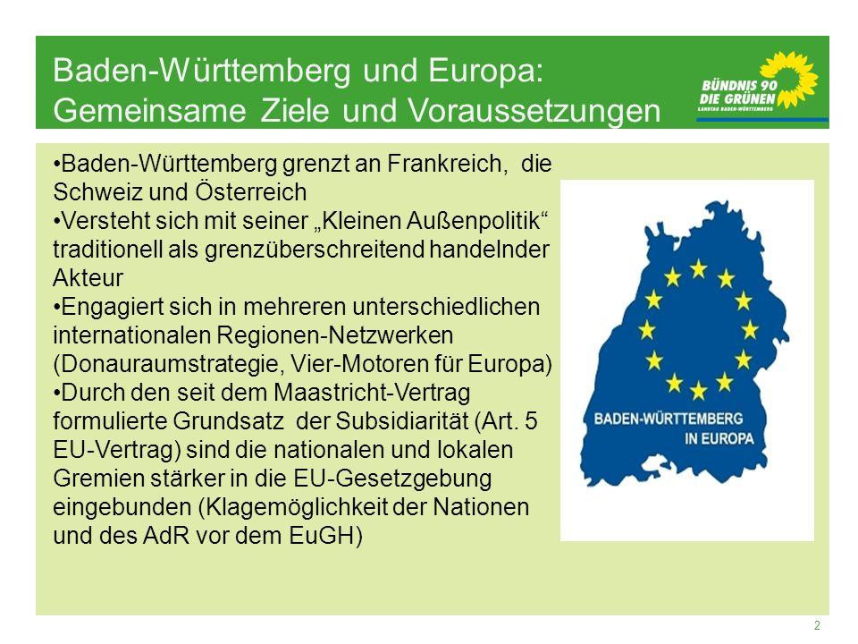 Baden-Württemberg und Europa: Gemeinsame Ziele und Voraussetzungen