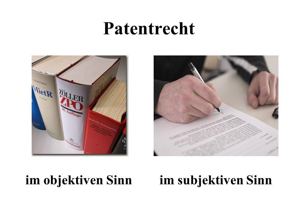 Patentrecht im objektiven Sinn im subjektiven Sinn