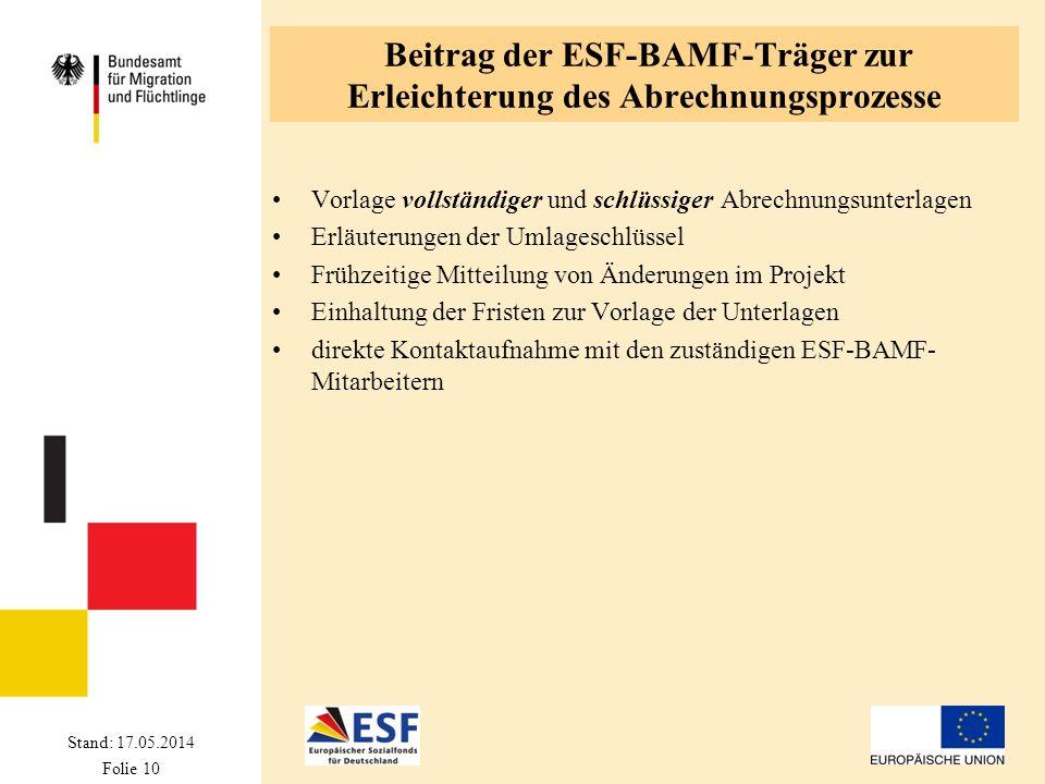 Beitrag der ESF-BAMF-Träger zur Erleichterung des Abrechnungsprozesse