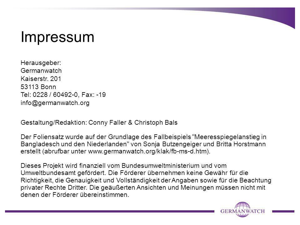 Impressum Herausgeber: Germanwatch Kaiserstr. 201 53113 Bonn