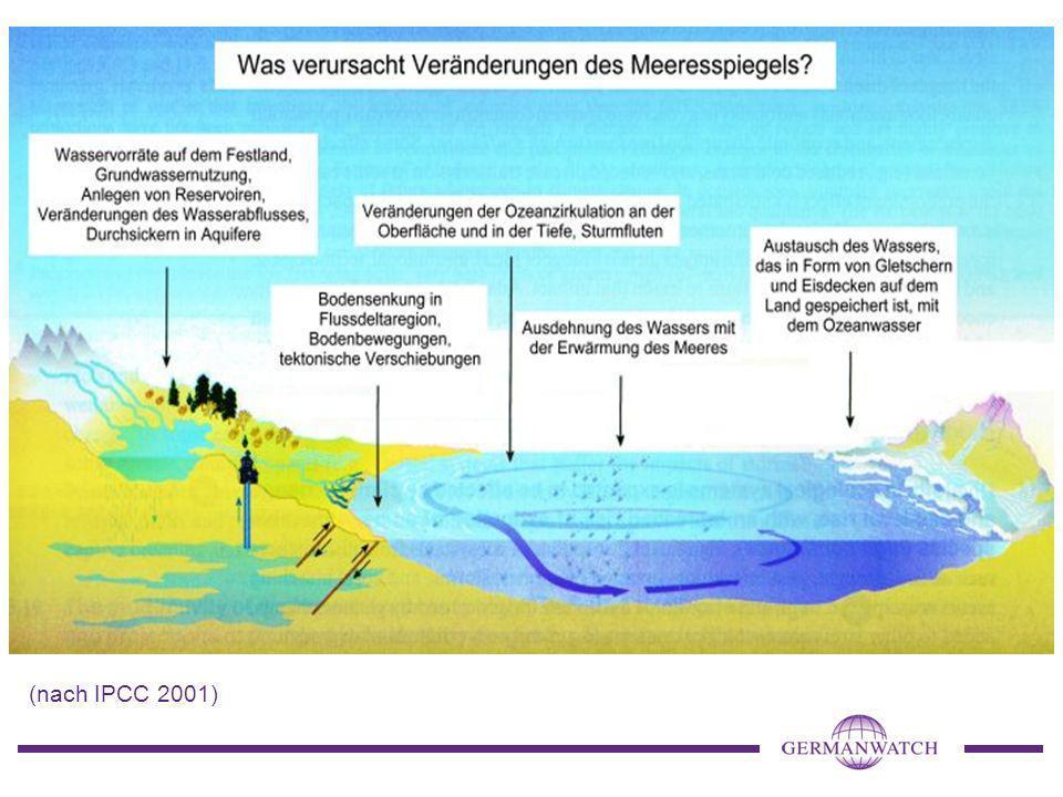 Diese Grafik gibt einen Überblick über Ursachen des Meeresspiegelanstiegs.