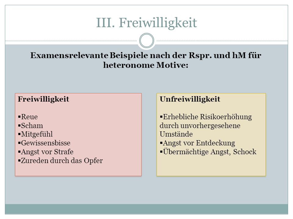 III. Freiwilligkeit Examensrelevante Beispiele nach der Rspr. und hM für heteronome Motive: Freiwilligkeit.
