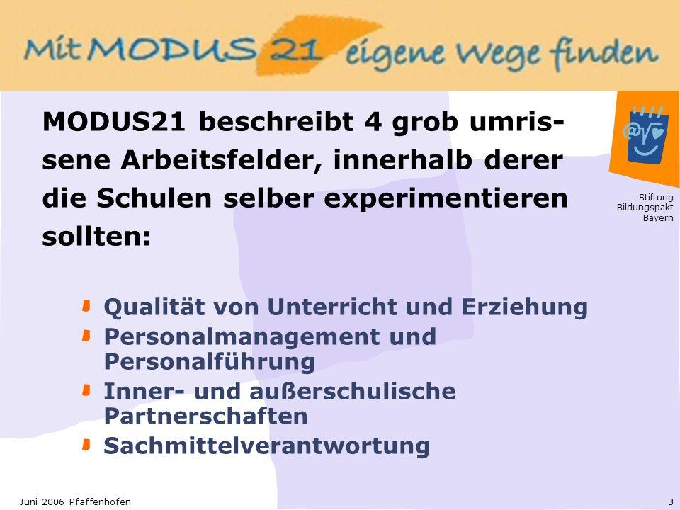 MODUS21 beschreibt 4 grob umris-sene Arbeitsfelder, innerhalb derer die Schulen selber experimentieren sollten: