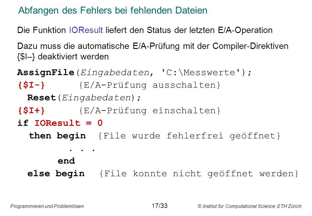 Abfangen des Fehlers bei fehlenden Dateien