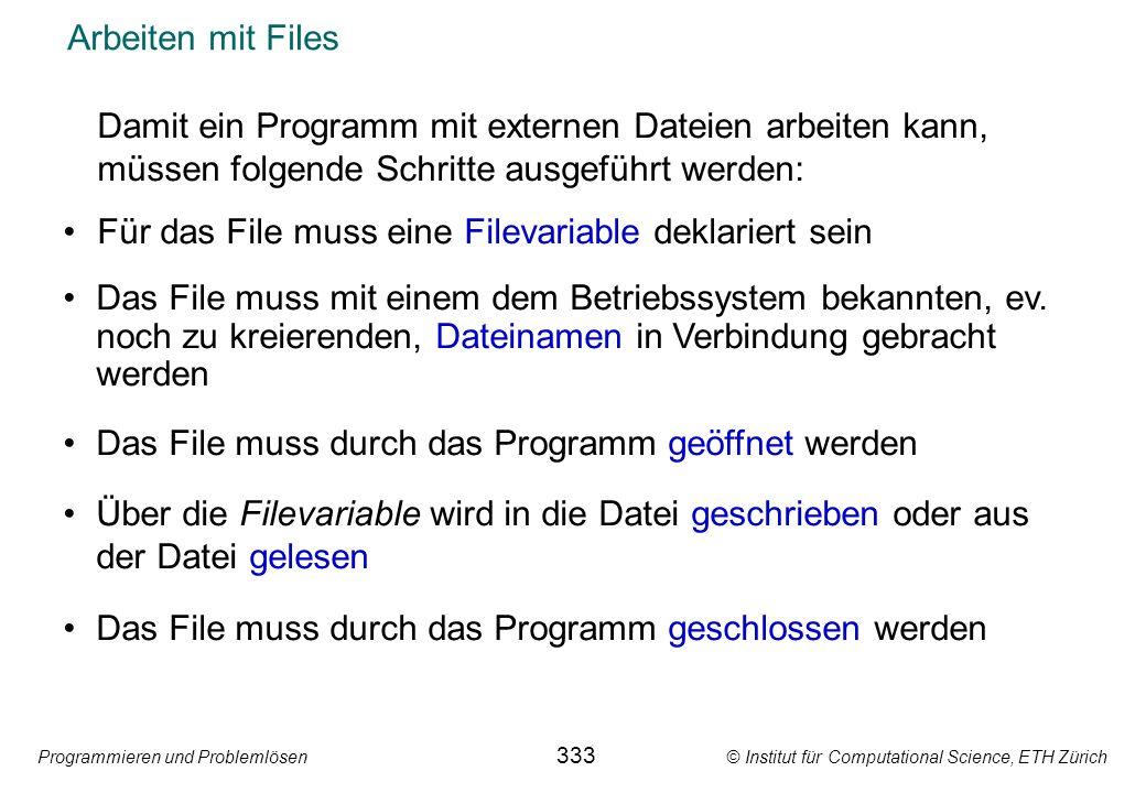 Für das File muss eine Filevariable deklariert sein