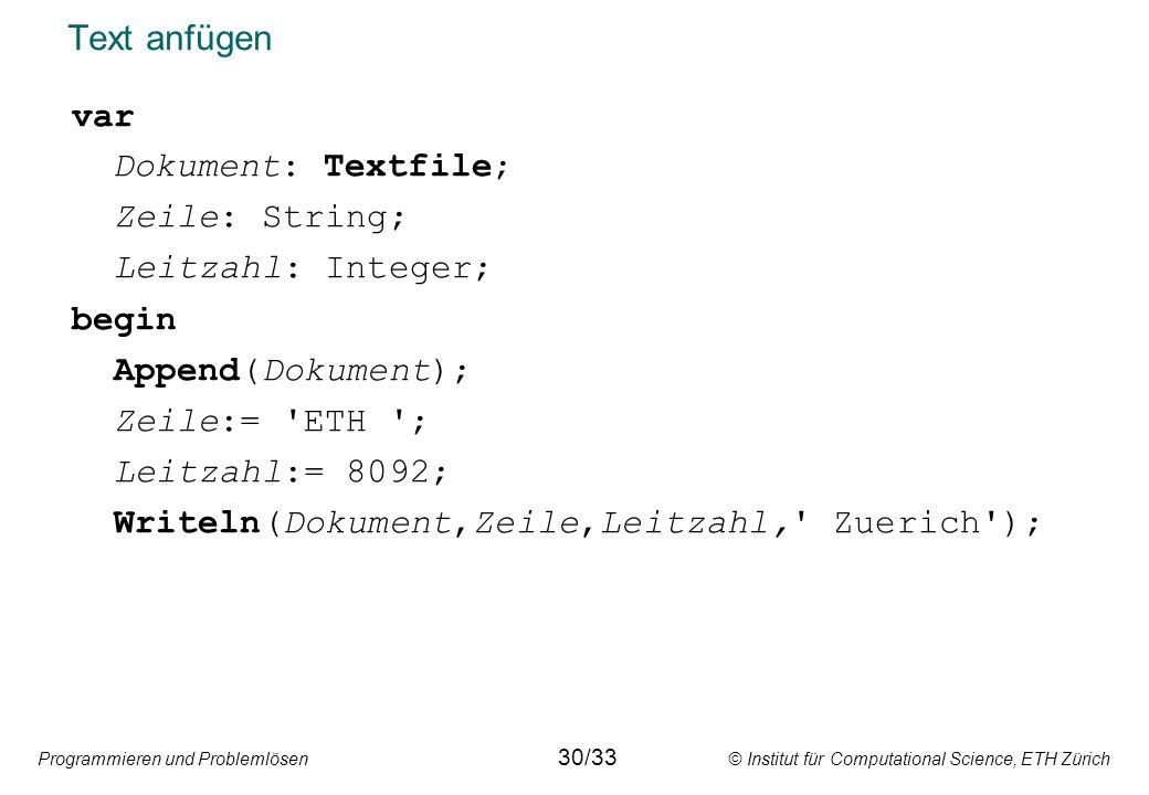 Writeln(Dokument,Zeile,Leitzahl, Zuerich );