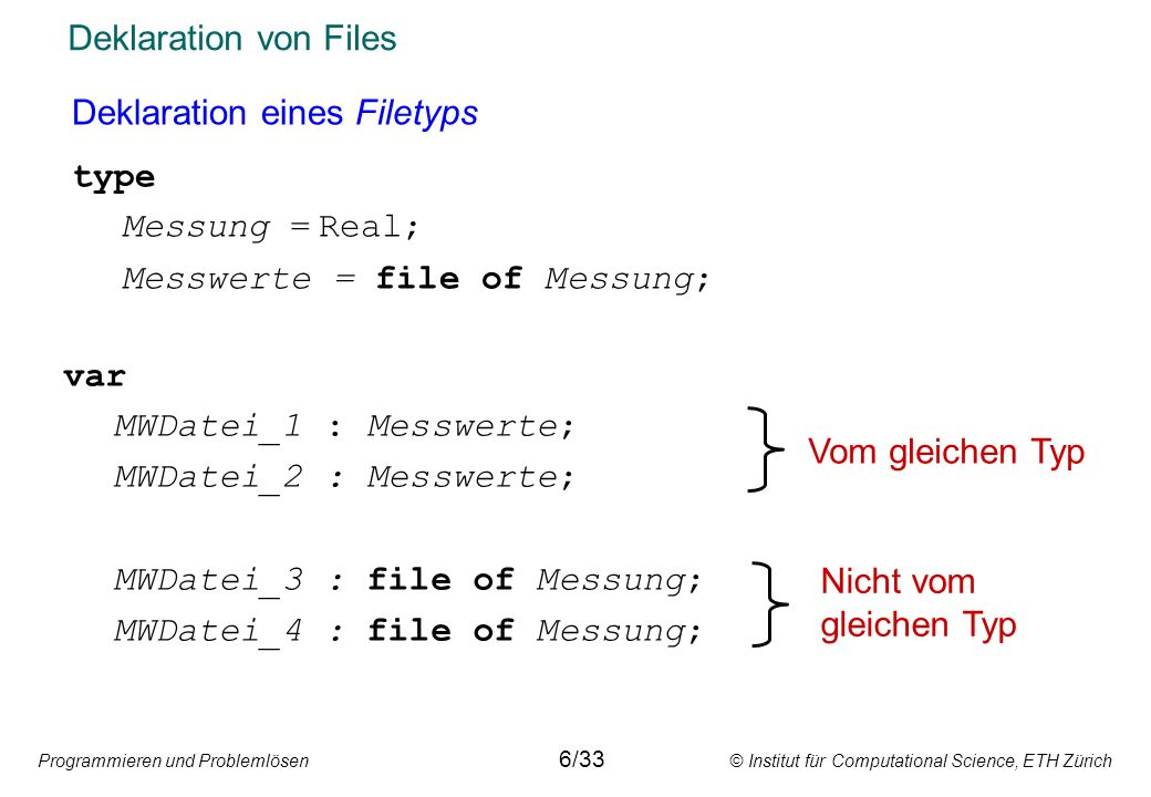 Deklaration eines Filetyps type Messung = Real;