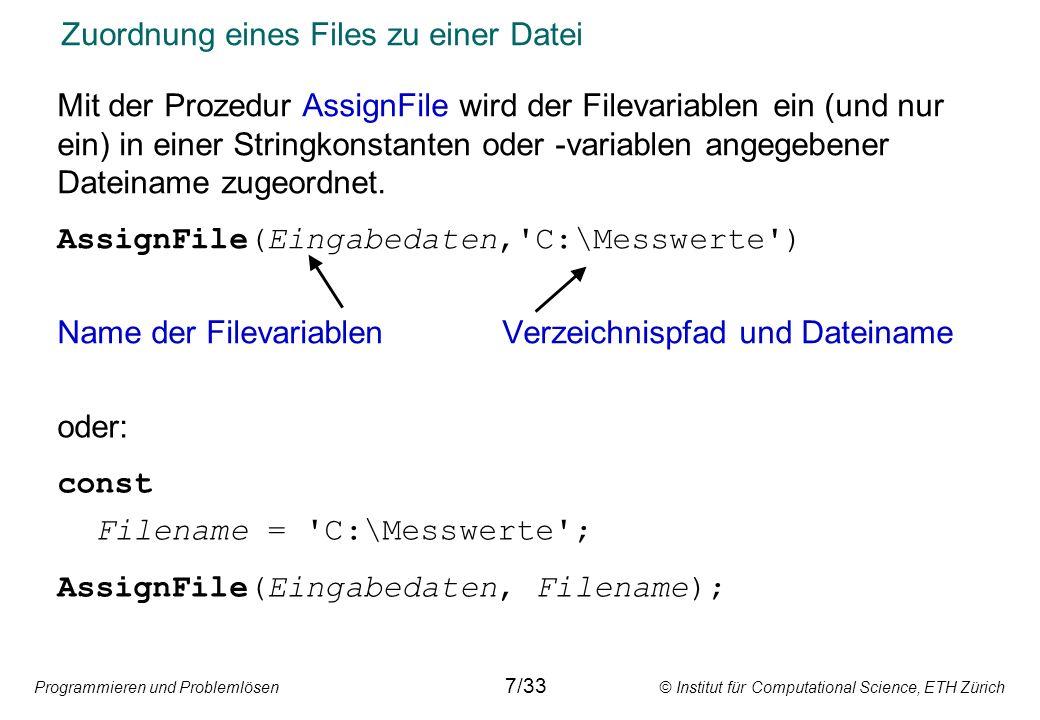 Zuordnung eines Files zu einer Datei