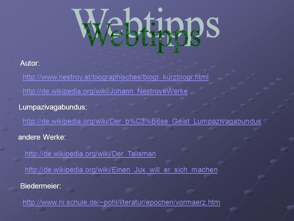 Webtipps Autor: http://www.nestroy.at/biographisches/biogr_kurzbiogr.html. http://de.wikipedia.org/wiki/Johann_Nestroy#Werke.