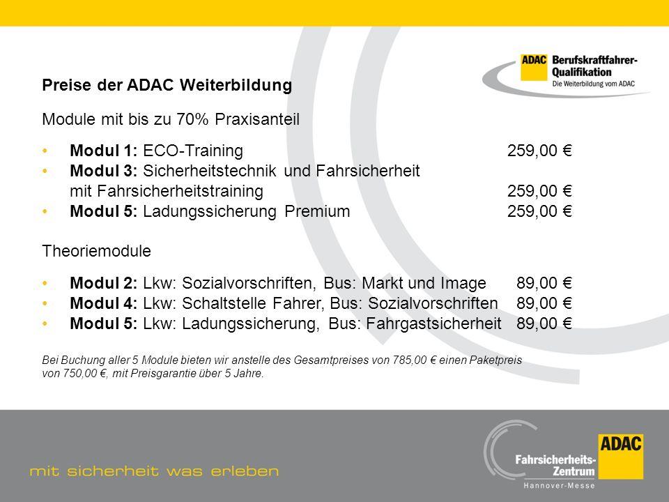 Preise der ADAC Weiterbildung Module mit bis zu 70% Praxisanteil
