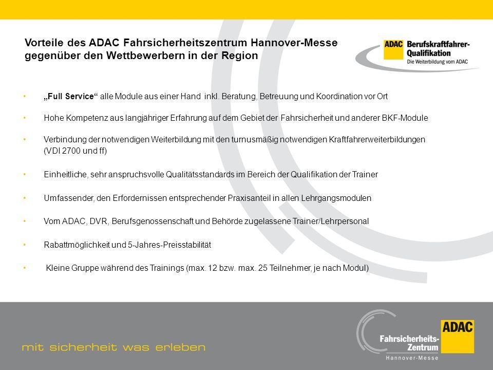 Vorteile des ADAC Fahrsicherheitszentrum Hannover-Messe